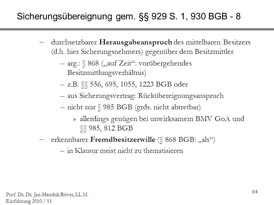 Sicherungsübereignung gem. §§ 929 S. 1, 930 BGB - 8