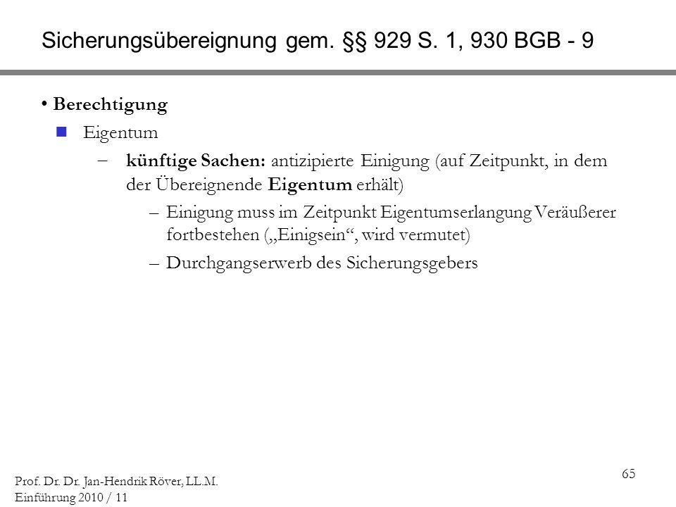 Sicherungsübereignung gem. §§ 929 S. 1, 930 BGB - 9
