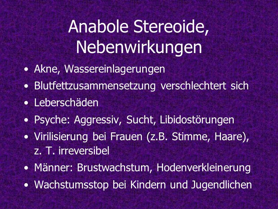 Anabole Stereoide, Nebenwirkungen