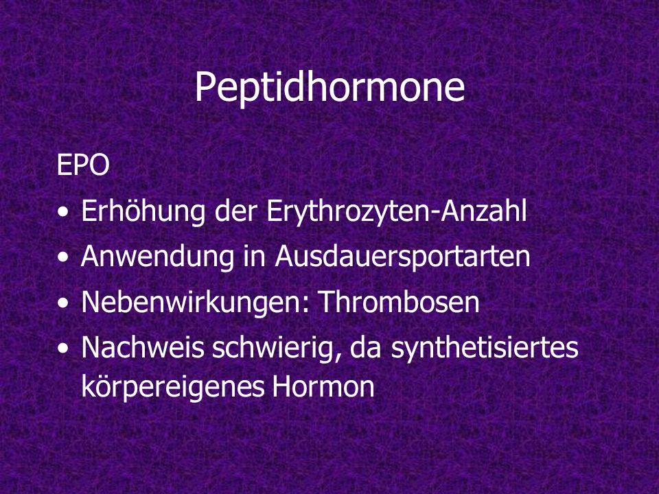 Peptidhormone EPO Erhöhung der Erythrozyten-Anzahl