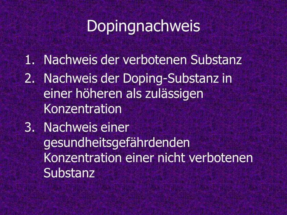 Dopingnachweis Nachweis der verbotenen Substanz