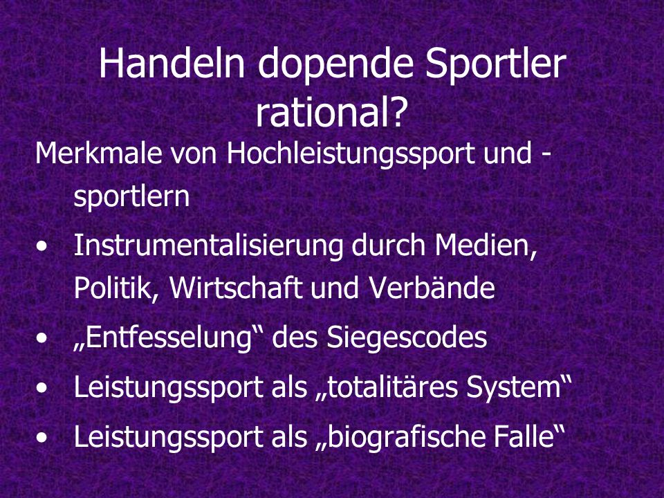 Handeln dopende Sportler rational