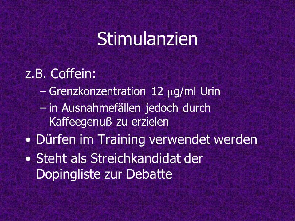 Stimulanzien z.B. Coffein: Dürfen im Training verwendet werden