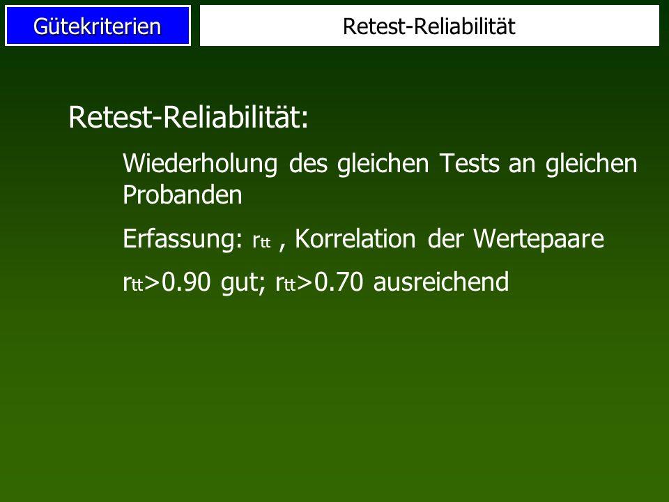 Retest-Reliabilität:
