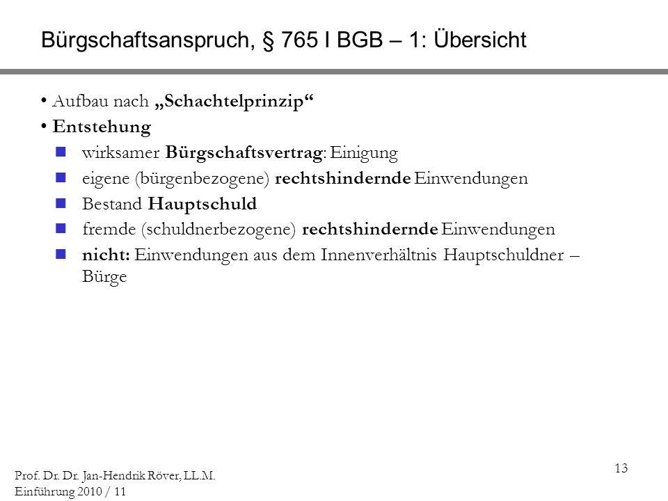 Bürgschaftsanspruch, § 765 I BGB – 1: Übersicht