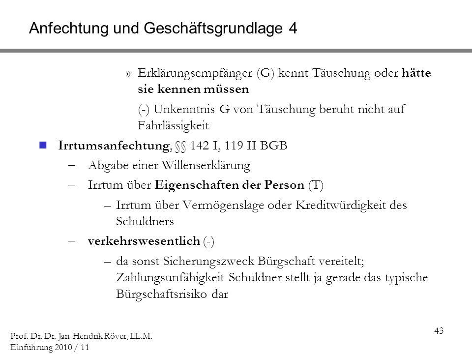 Anfechtung und Geschäftsgrundlage 4