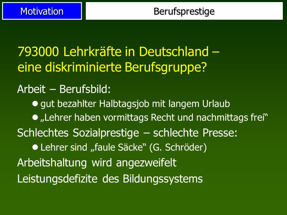 793000 Lehrkräfte in Deutschland – eine diskriminierte Berufsgruppe
