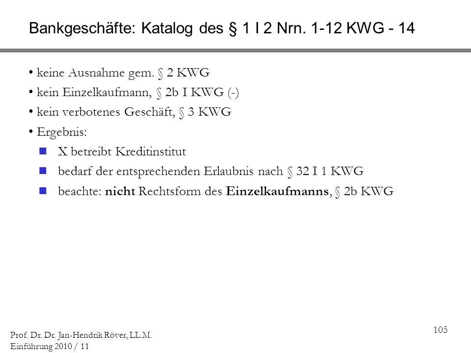 Bankgeschäfte: Katalog des § 1 I 2 Nrn. 1-12 KWG - 14