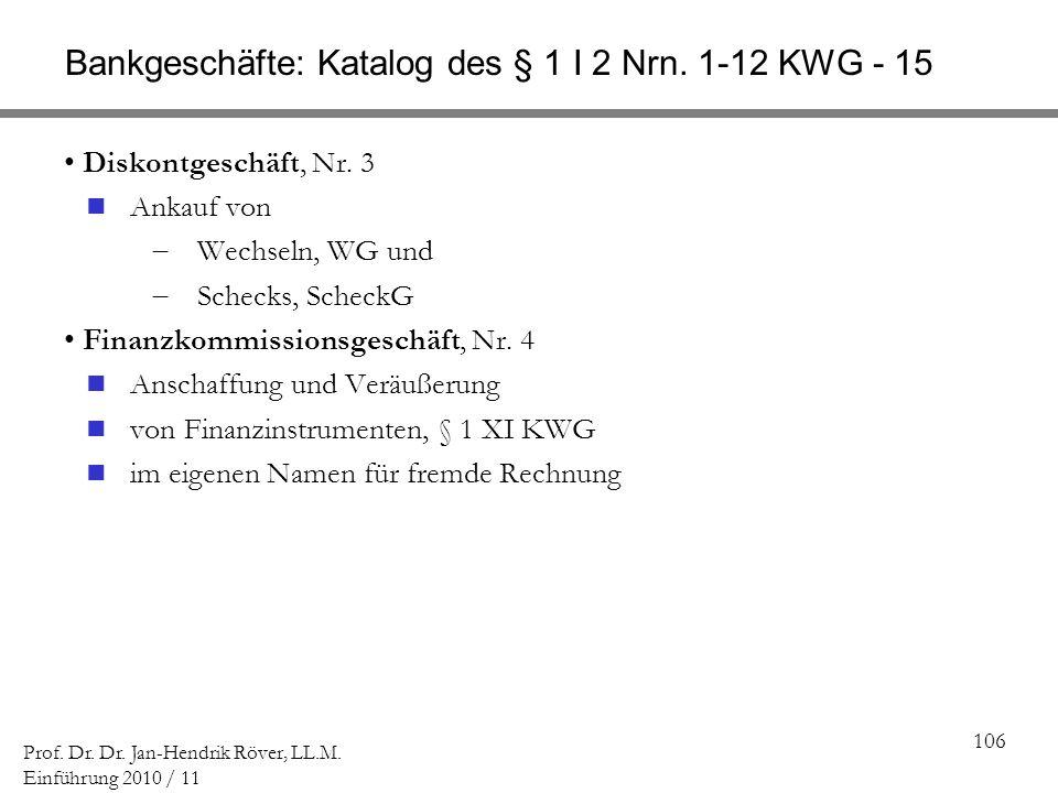 Bankgeschäfte: Katalog des § 1 I 2 Nrn. 1-12 KWG - 15