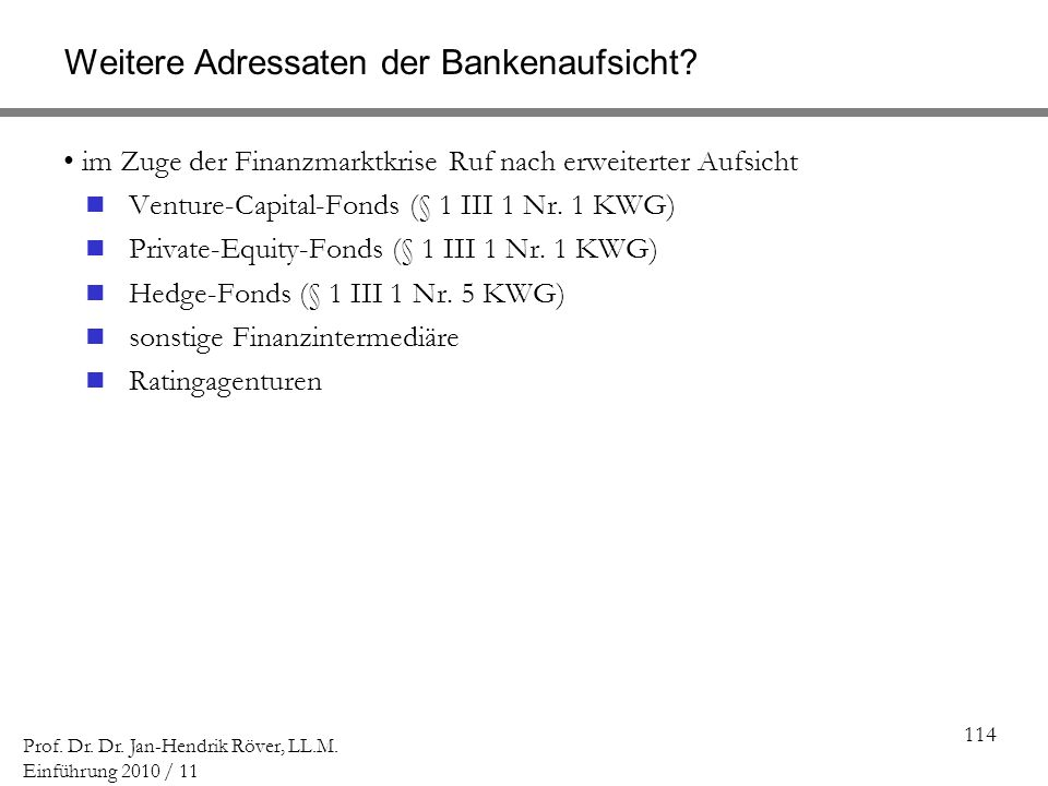 Weitere Adressaten der Bankenaufsicht