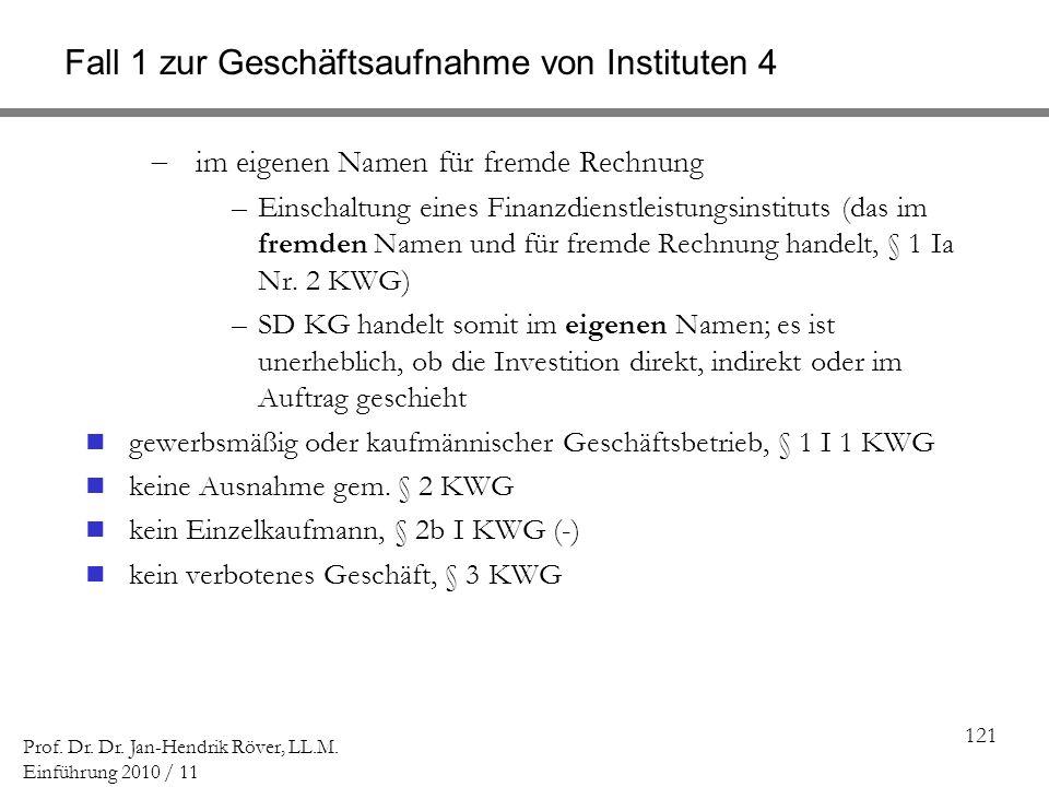 Fall 1 zur Geschäftsaufnahme von Instituten 4