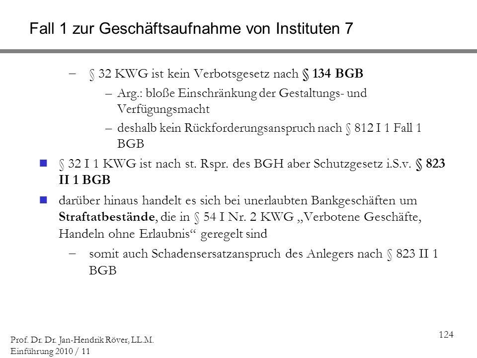 Fall 1 zur Geschäftsaufnahme von Instituten 7