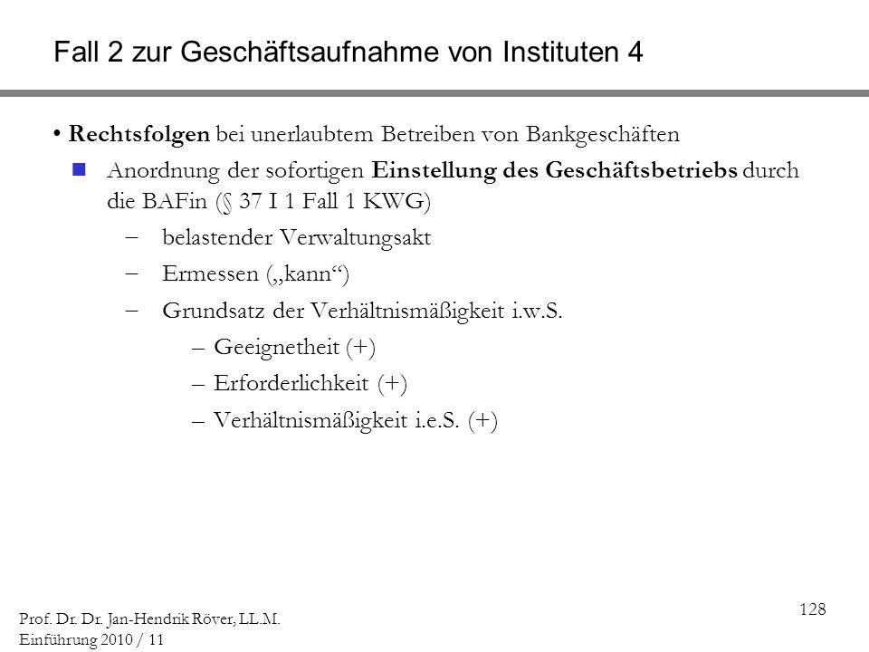 Fall 2 zur Geschäftsaufnahme von Instituten 4