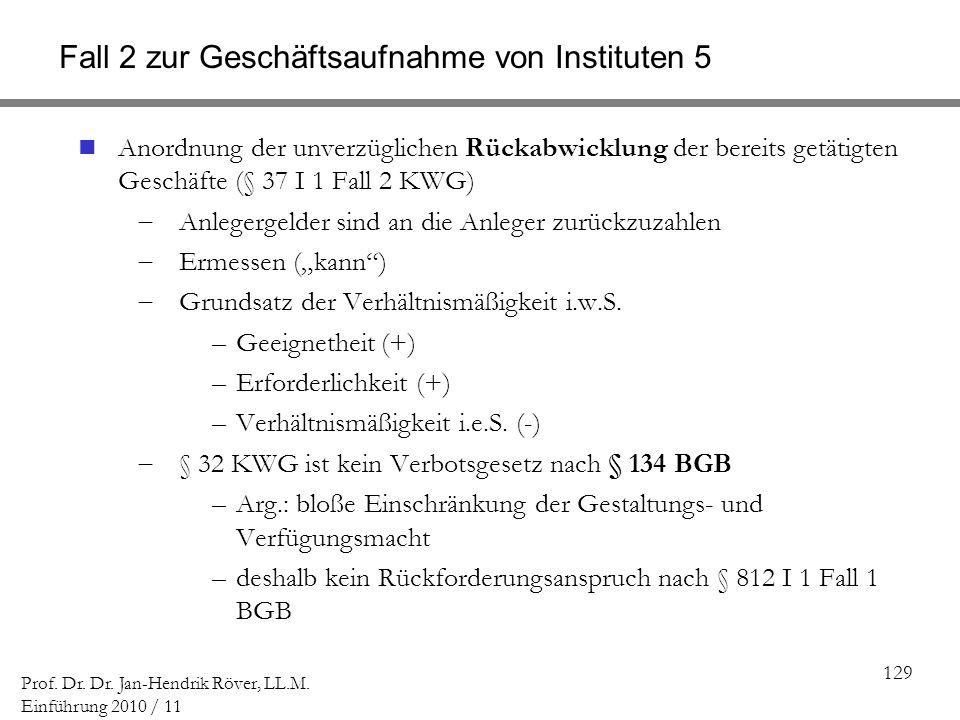 Fall 2 zur Geschäftsaufnahme von Instituten 5