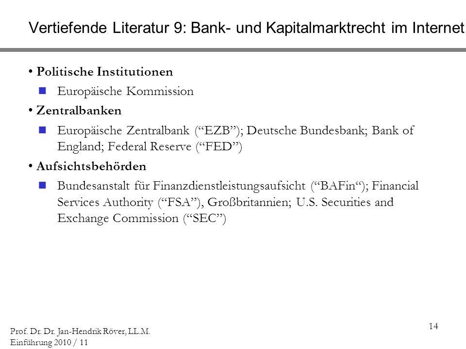Vertiefende Literatur 9: Bank- und Kapitalmarktrecht im Internet