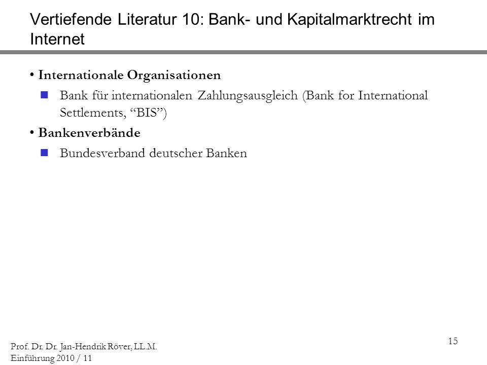 Vertiefende Literatur 10: Bank- und Kapitalmarktrecht im Internet