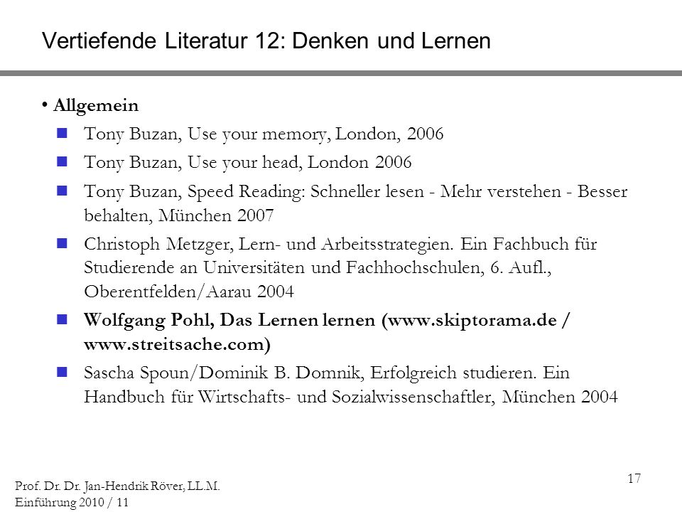 Vertiefende Literatur 12: Denken und Lernen