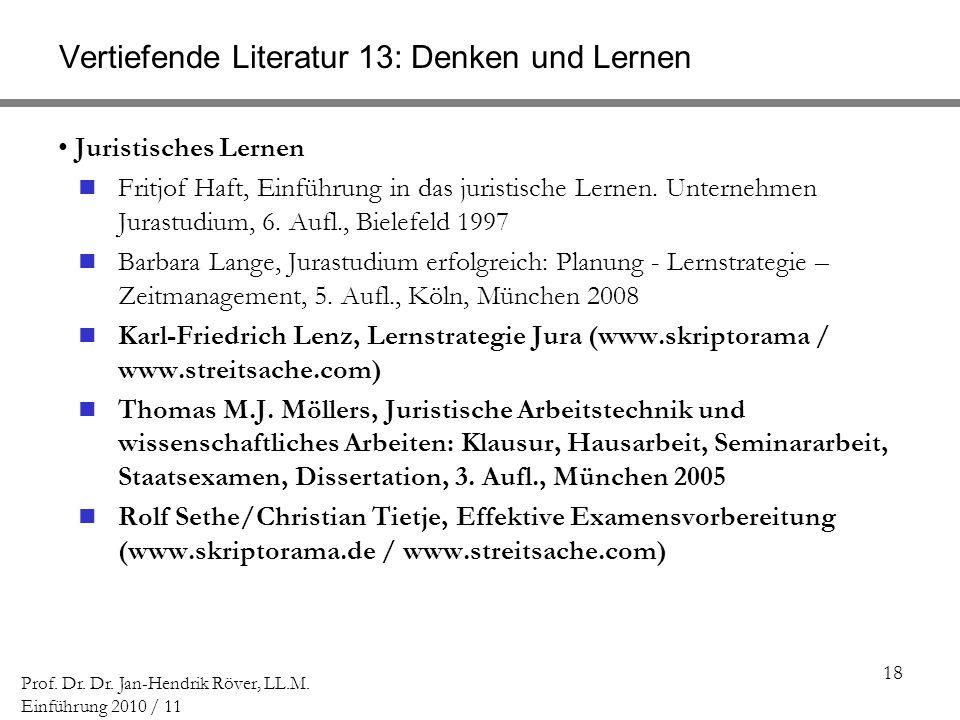 Vertiefende Literatur 13: Denken und Lernen