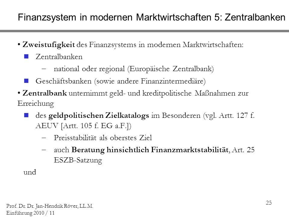 Finanzsystem in modernen Marktwirtschaften 5: Zentralbanken