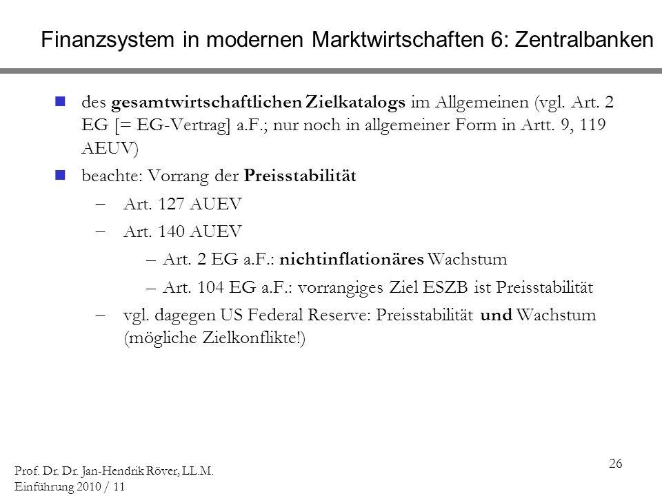 Finanzsystem in modernen Marktwirtschaften 6: Zentralbanken