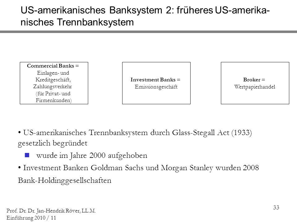 US-amerikanisches Banksystem 2: früheres US-amerika-
