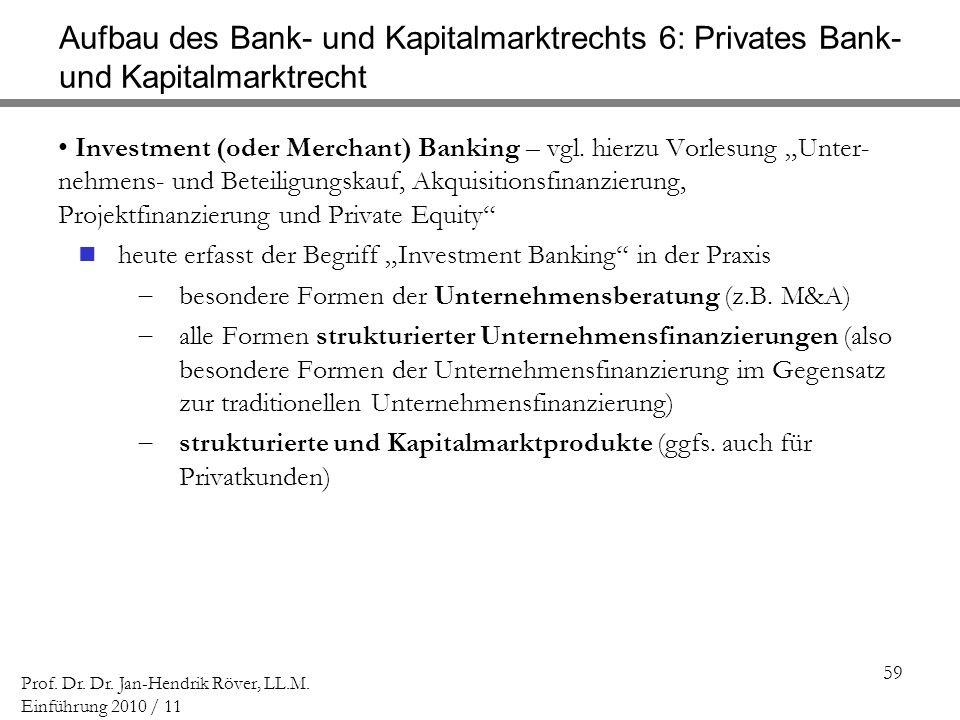 Aufbau des Bank- und Kapitalmarktrechts 6: Privates Bank- und Kapitalmarktrecht