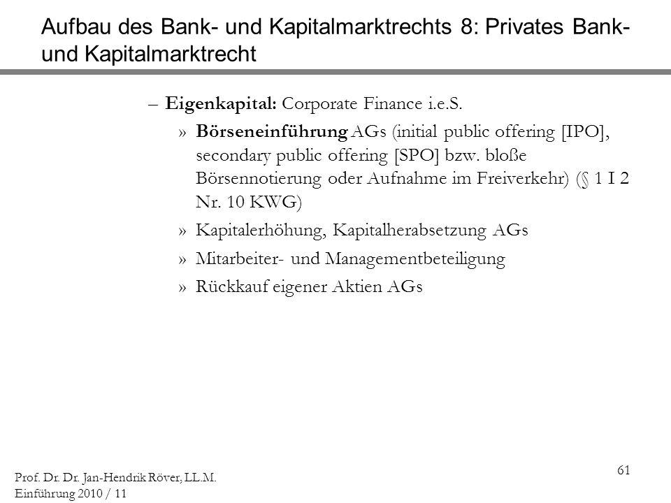 Aufbau des Bank- und Kapitalmarktrechts 8: Privates Bank- und Kapitalmarktrecht