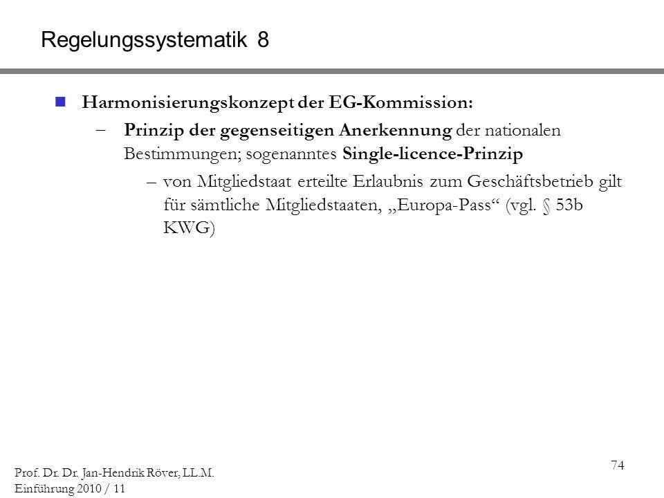 Regelungssystematik 8 Harmonisierungskonzept der EG-Kommission: