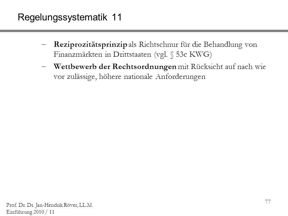 Regelungssystematik 11 Reziprozitätsprinzip als Richtschnur für die Behandlung von Finanzmärkten in Drittstaaten (vgl. § 53c KWG)