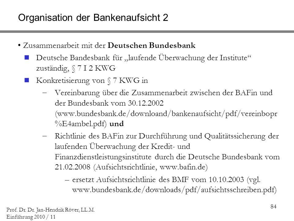 Organisation der Bankenaufsicht 2