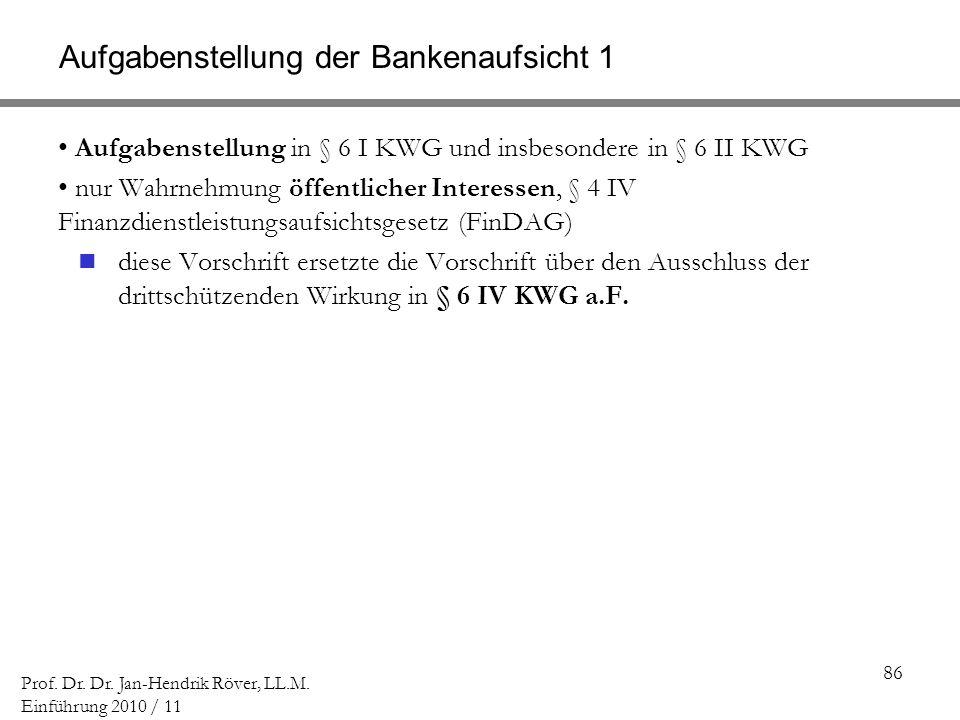 Aufgabenstellung der Bankenaufsicht 1