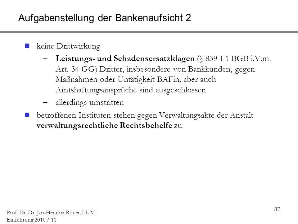 Aufgabenstellung der Bankenaufsicht 2
