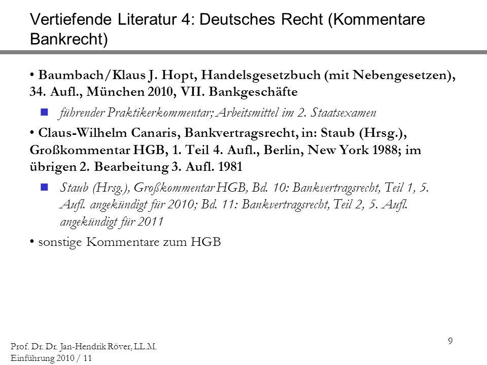 Vertiefende Literatur 4: Deutsches Recht (Kommentare Bankrecht)
