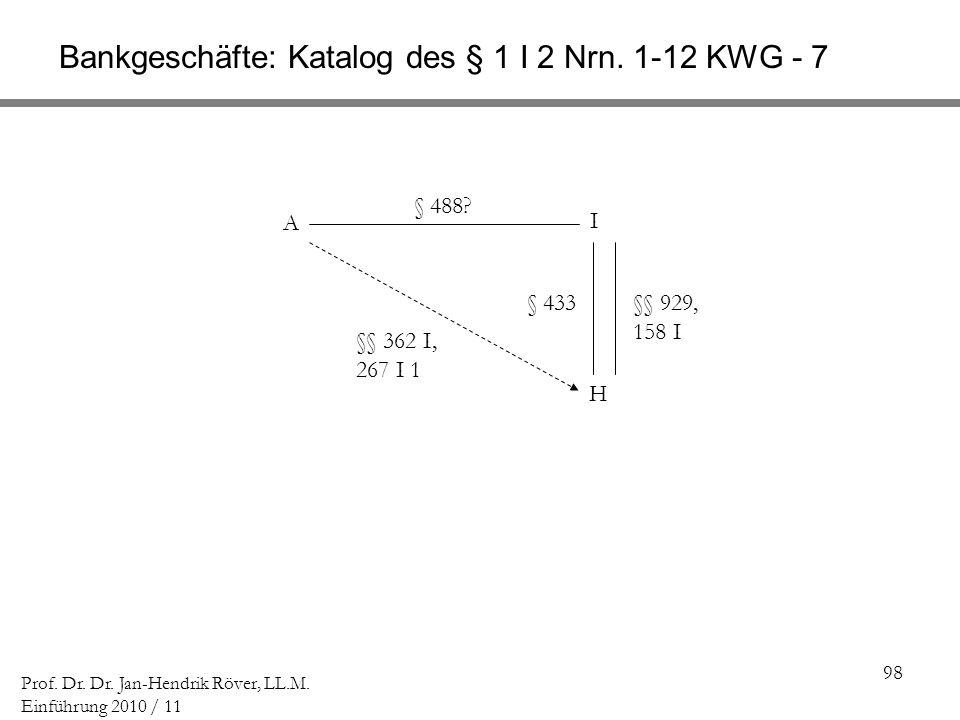Bankgeschäfte: Katalog des § 1 I 2 Nrn. 1-12 KWG - 7