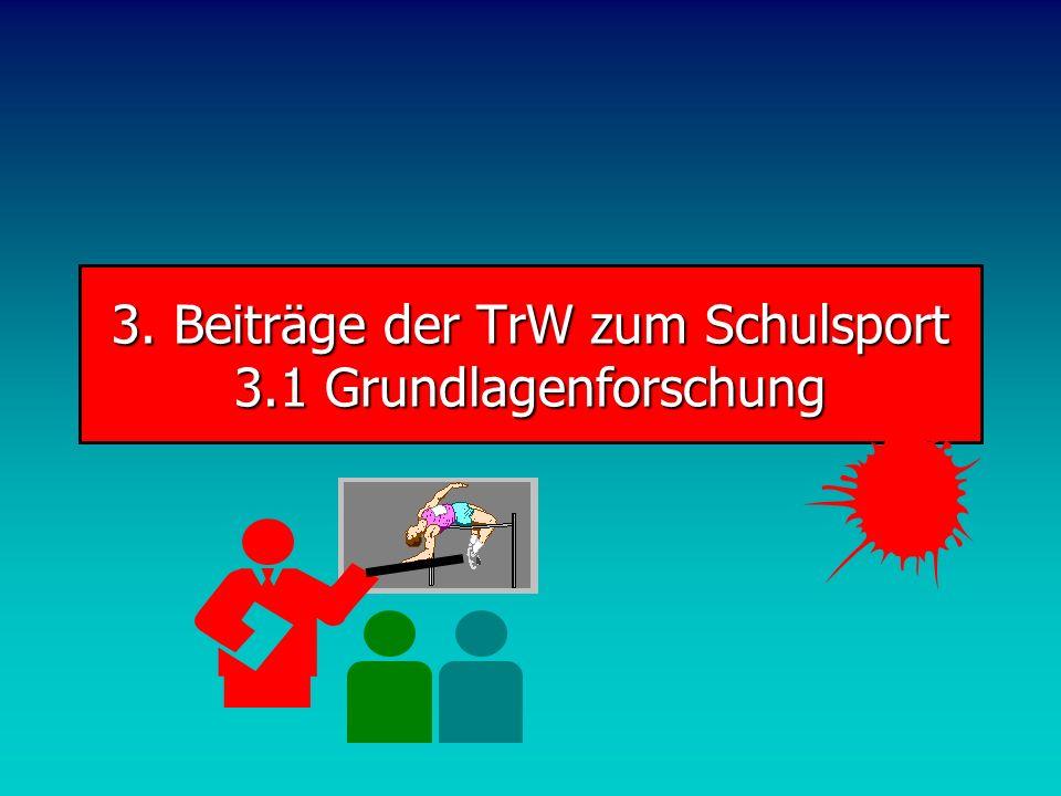 3. Beiträge der TrW zum Schulsport 3.1 Grundlagenforschung
