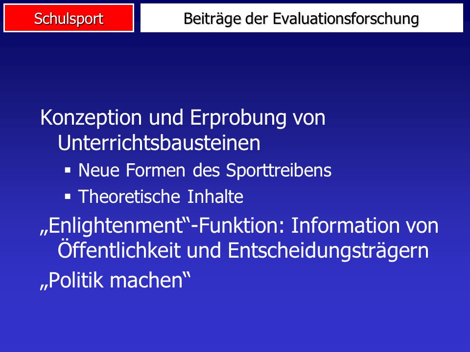 Beiträge der Evaluationsforschung