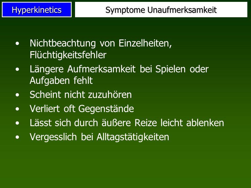 Symptome Unaufmerksamkeit