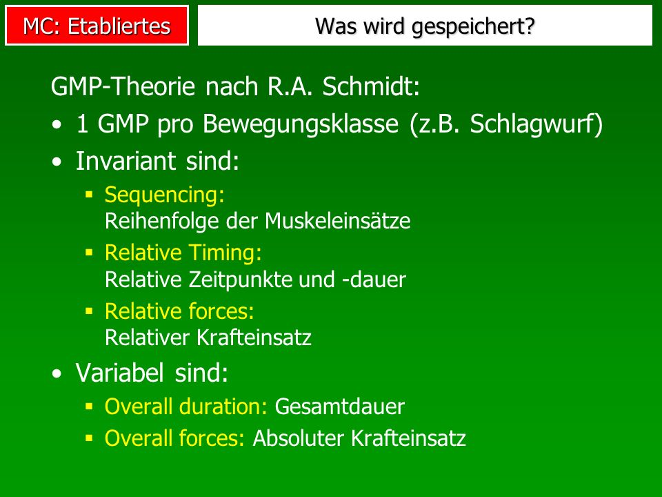 GMP-Theorie nach R.A. Schmidt: