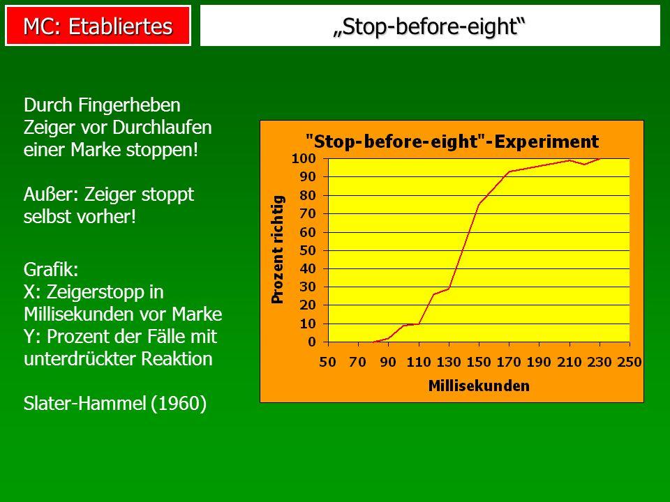 """""""Stop-before-eight Durch Fingerheben Zeiger vor Durchlaufen einer Marke stoppen! Außer: Zeiger stoppt selbst vorher!"""