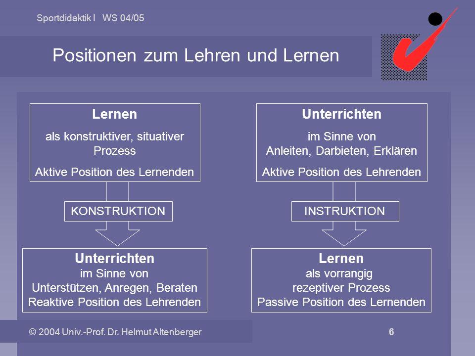 Positionen zum Lehren und Lernen