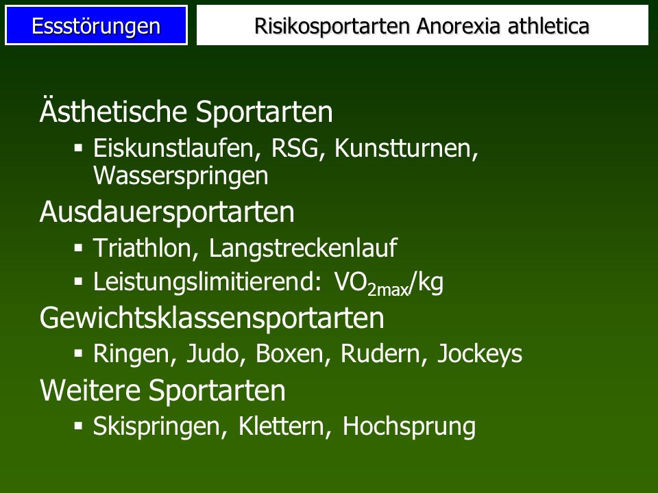 Risikosportarten Anorexia athletica