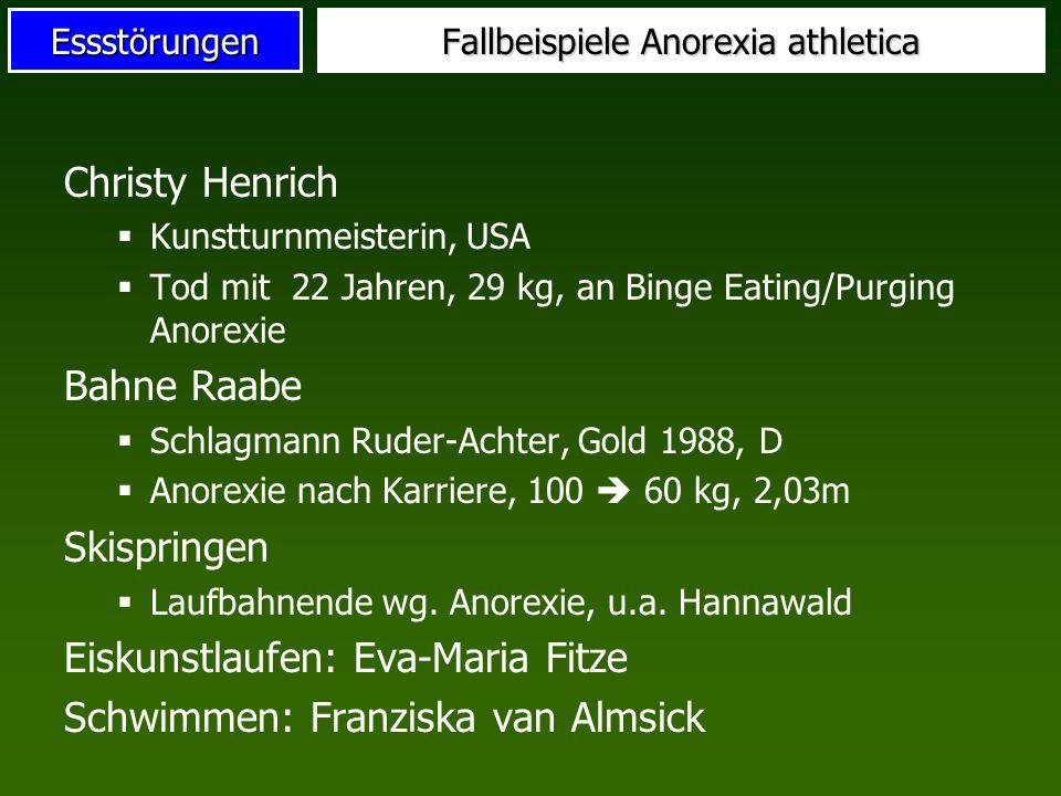 Fallbeispiele Anorexia athletica