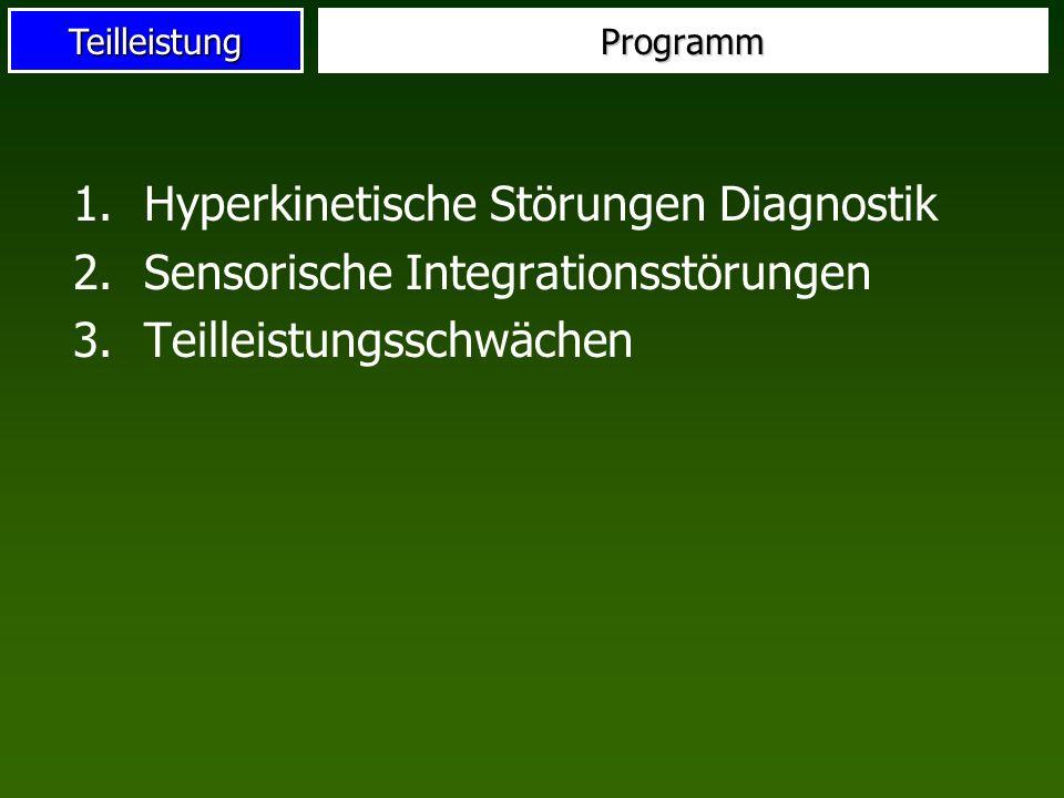 Hyperkinetische Störungen Diagnostik Sensorische Integrationsstörungen