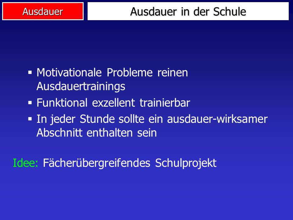Ausdauer in der Schule Motivationale Probleme reinen Ausdauertrainings. Funktional exzellent trainierbar.