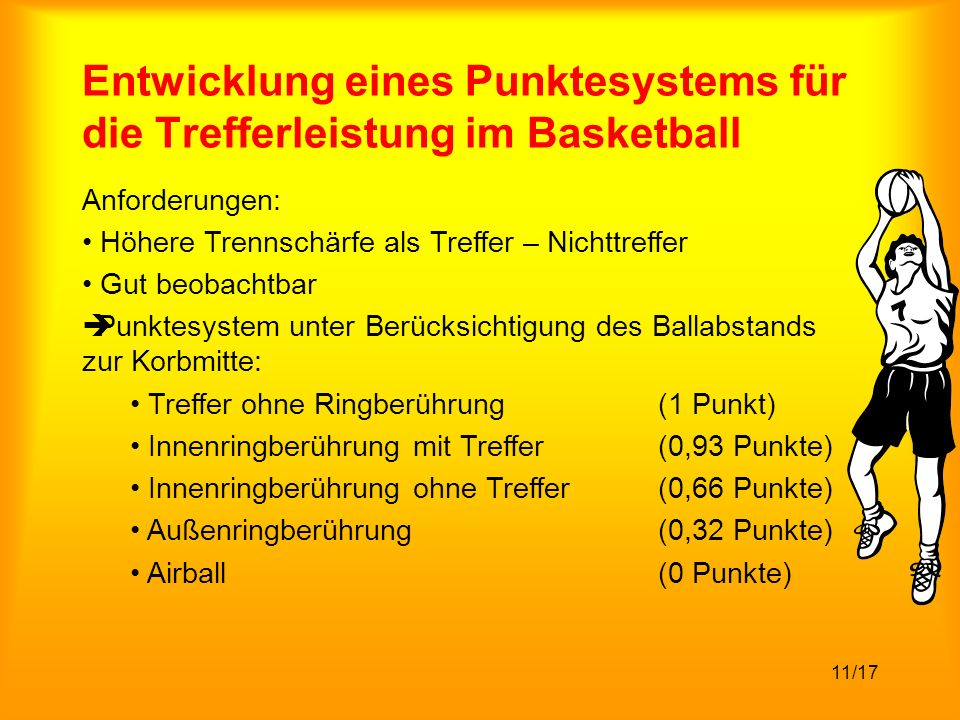 Entwicklung eines Punktesystems für die Trefferleistung im Basketball