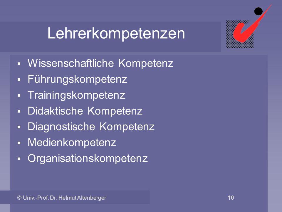 Lehrerkompetenzen Wissenschaftliche Kompetenz Führungskompetenz