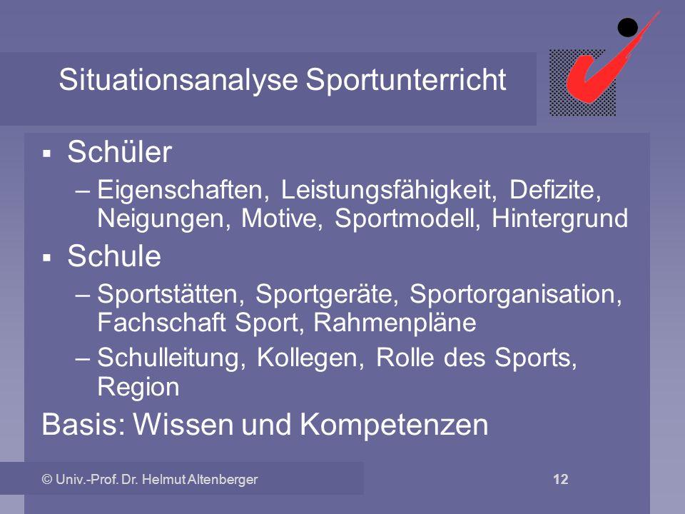 Situationsanalyse Sportunterricht