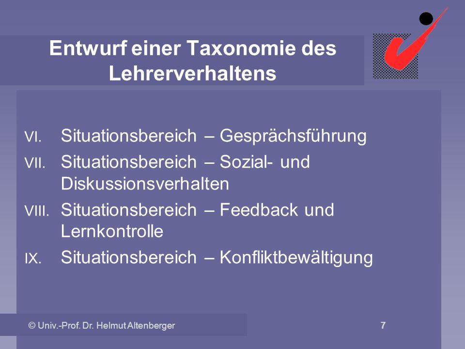 Entwurf einer Taxonomie des Lehrerverhaltens