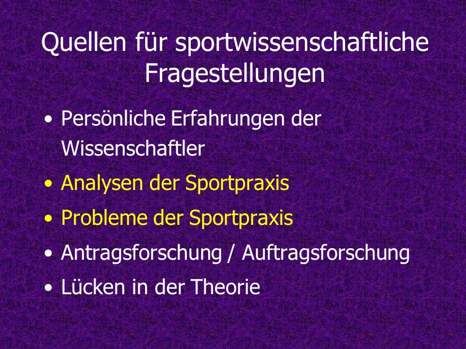 Quellen für sportwissenschaftliche Fragestellungen