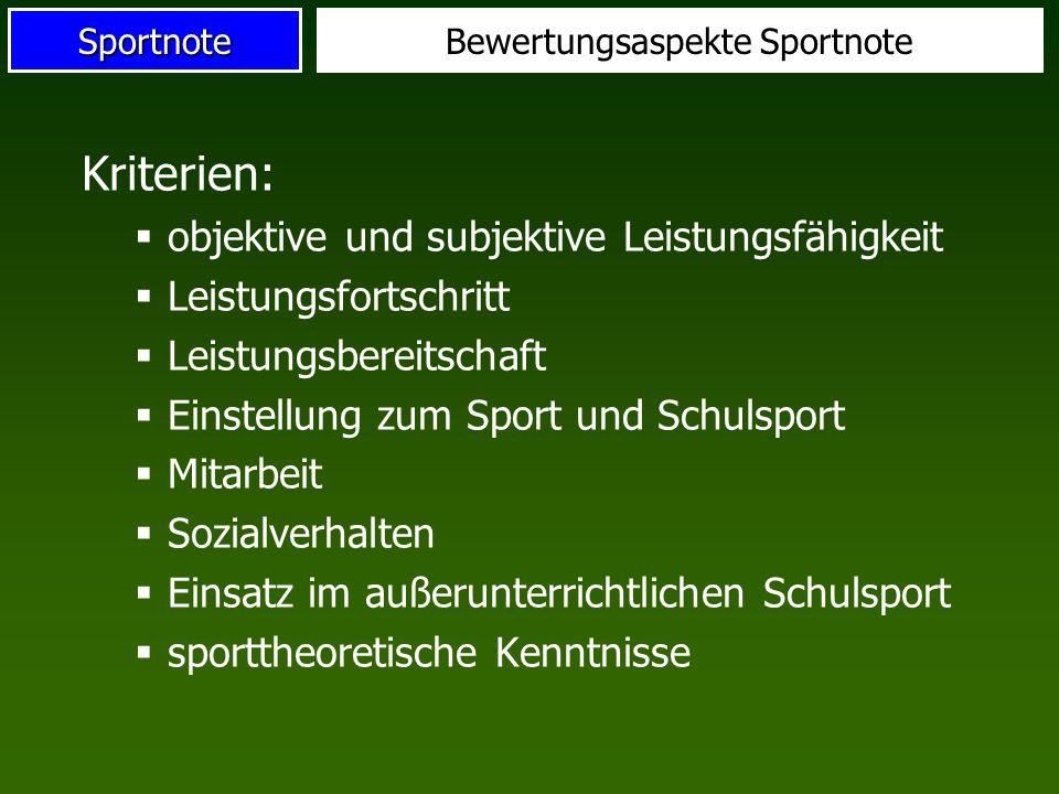 Bewertungsaspekte Sportnote